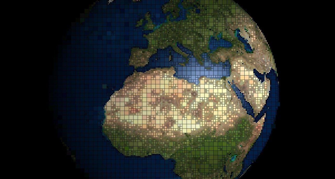 vue de la planète Terre centré sur l'Europe et l'Afrique